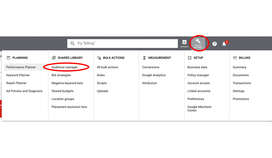 Tool and setting section in Google Ads including audience manager choice